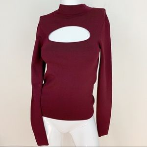 & other stories ribbed knit cutout long sleeve top